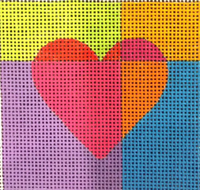 Red Heart with Multi Color Background