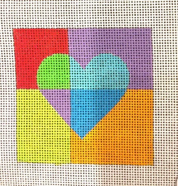Blue Heart with Multi Colored Background
