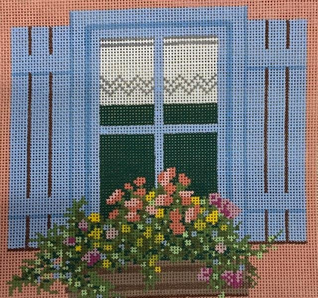 Blue Shutter Window Flower Box