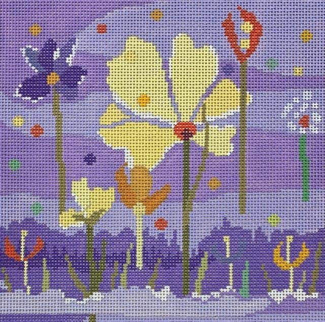 Abstract Flowers on Purple