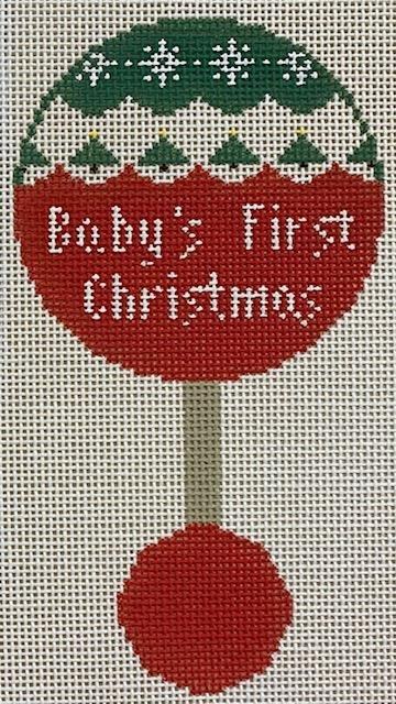 Baby's First Christmas Rattle, Green and Red
