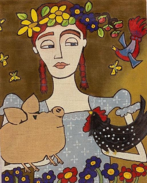 Young Lady with Rooster and Piglet
