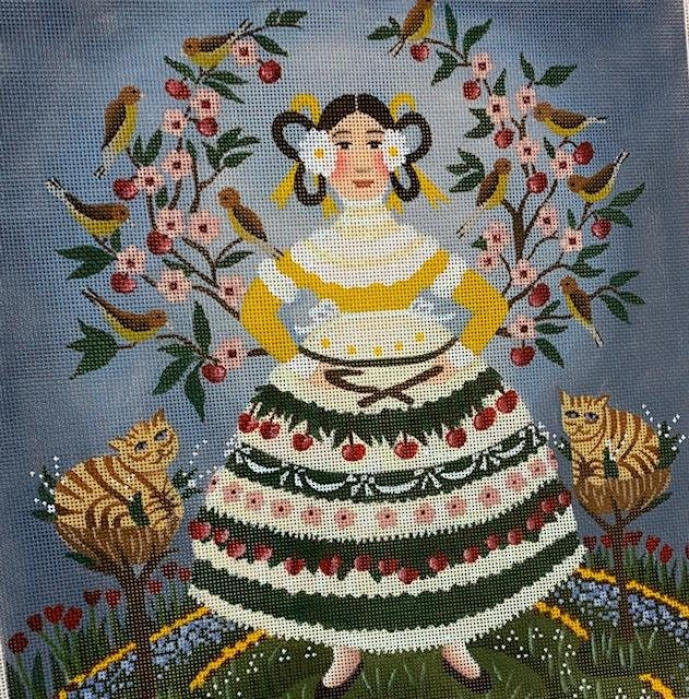Folk Lady in Beautiful Skirt