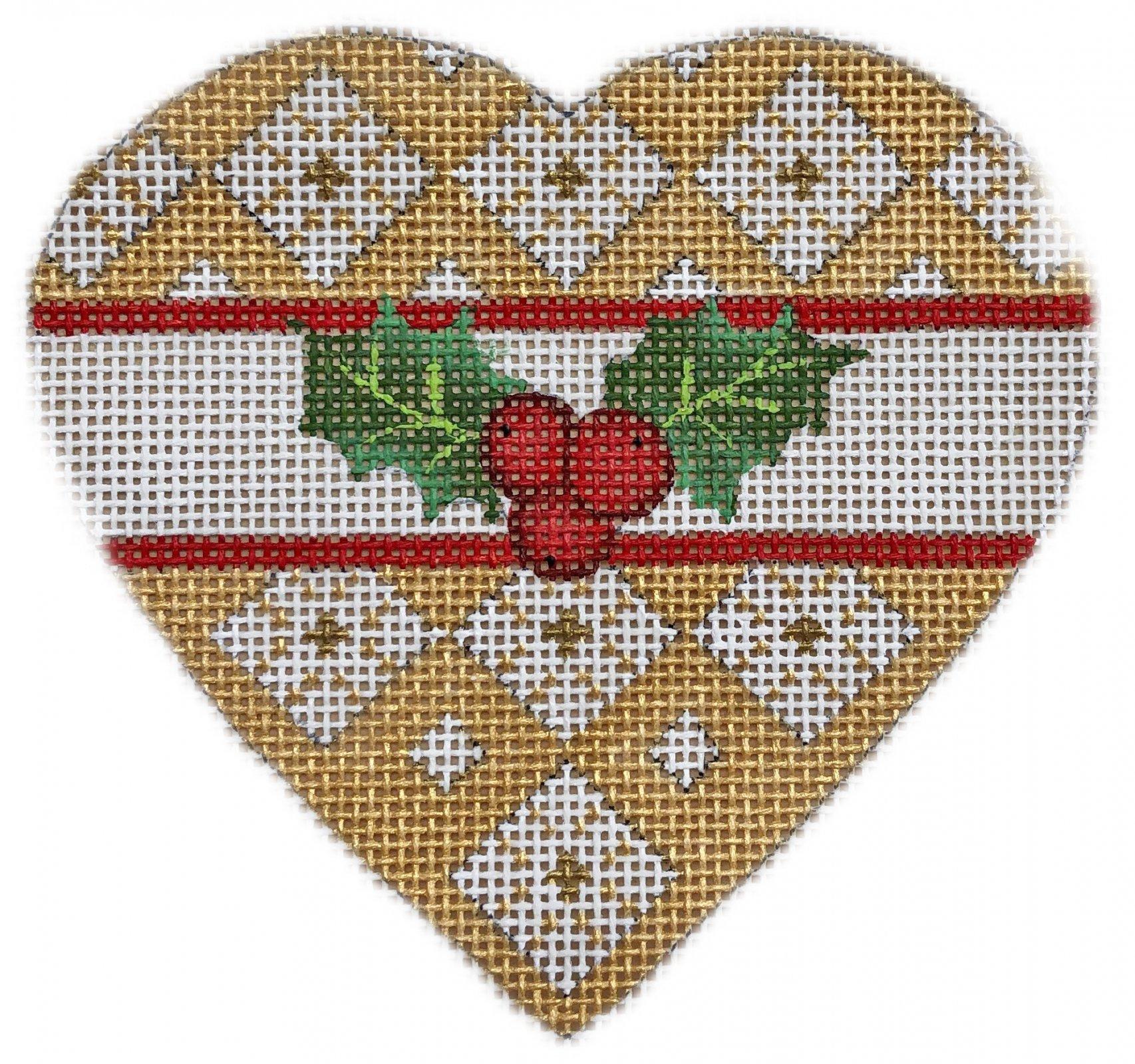 Gold Holly Heart