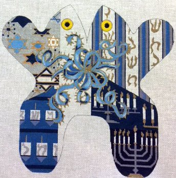 Frog, Blue Stripes and Judaic Symbols