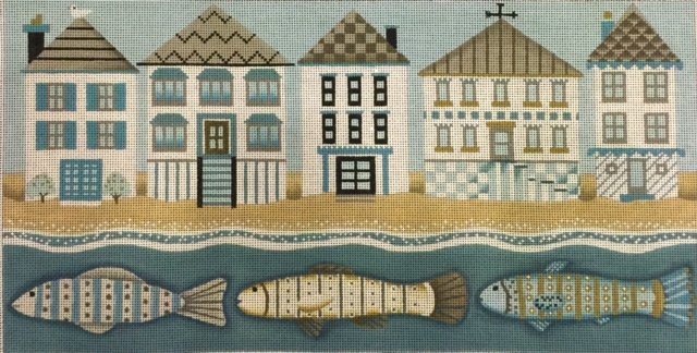 Row Houses with Three Fish by Melissa Shirley