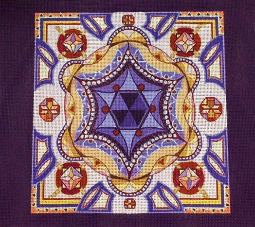Tallit, Beautiful Star of David Center and Deep Purple Border