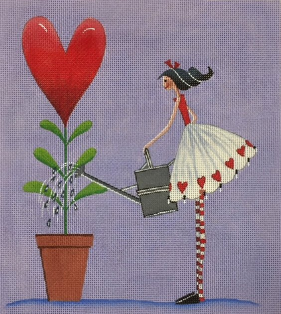 Woman Watering Heart Plant