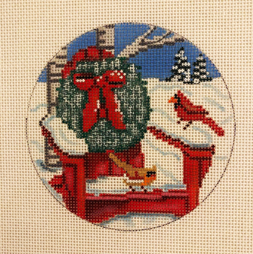 Ornament, Red Adirondack and Wreath