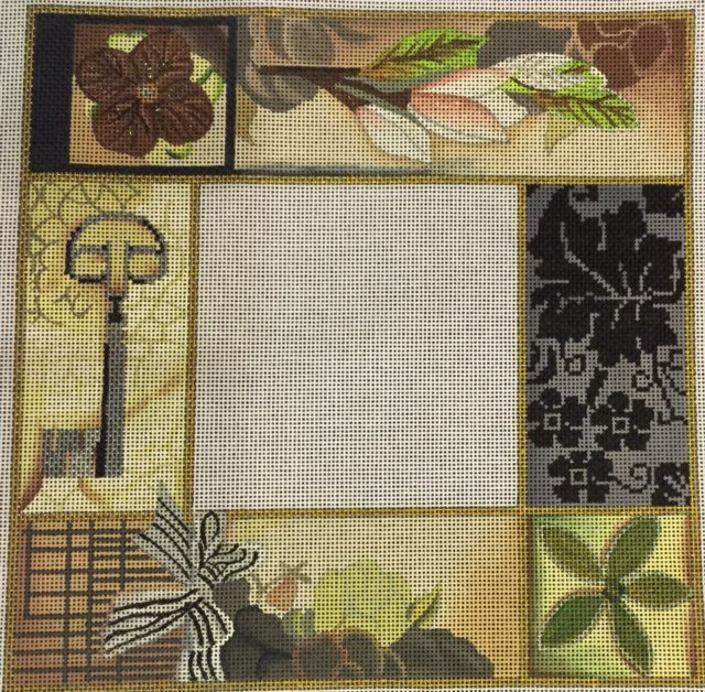Flowers and Key Patchwork Frame
