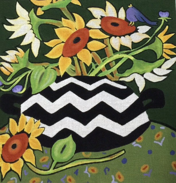 Sunflowers in Zig Zag Vase