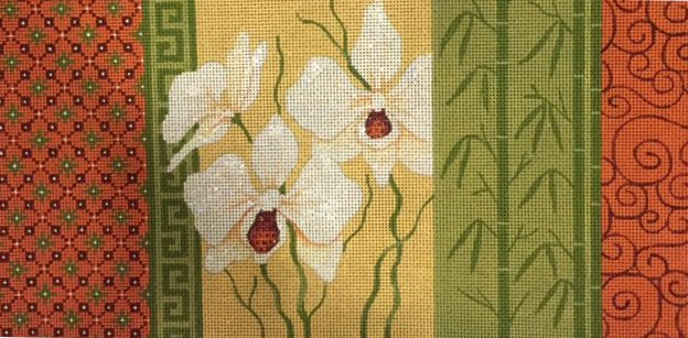 Three White Orchids with Side Panels