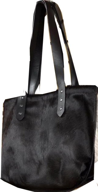 Tote, Faux Cowhide all Black