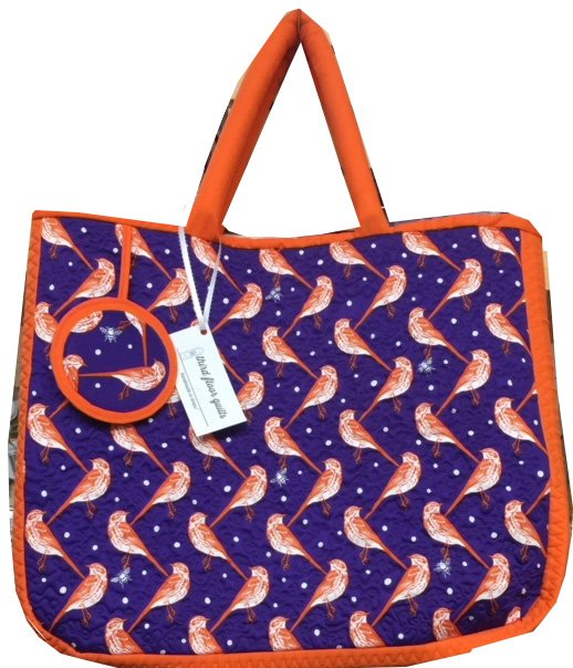 Tote, Blue with Birds and Orange Trim