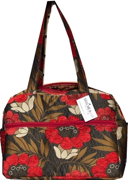 Tote, Gorgeous Poppies on Brown