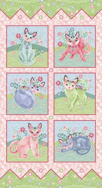 Fancy Cats - Block Panel - 23 X 43 - 6 Blocks - 10 x 9.5