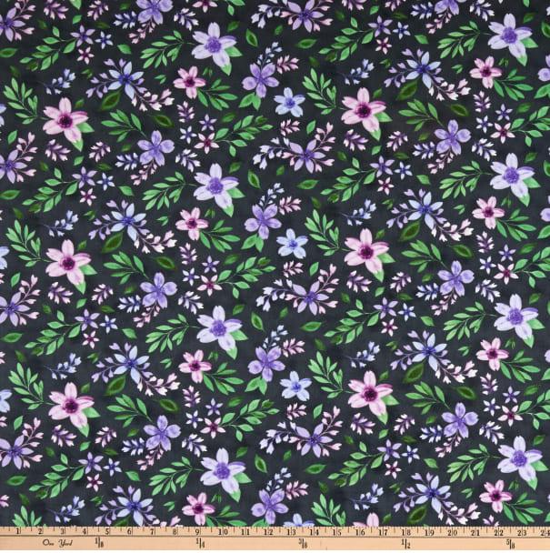 Amethyst Magic - Purple Flowers on Black