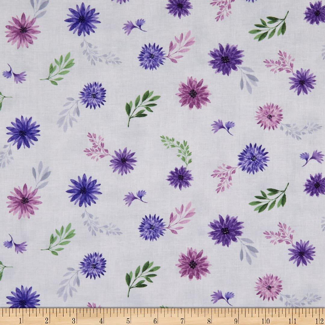 Amethyst Magic - Purple  Tossed Flowers on Grey