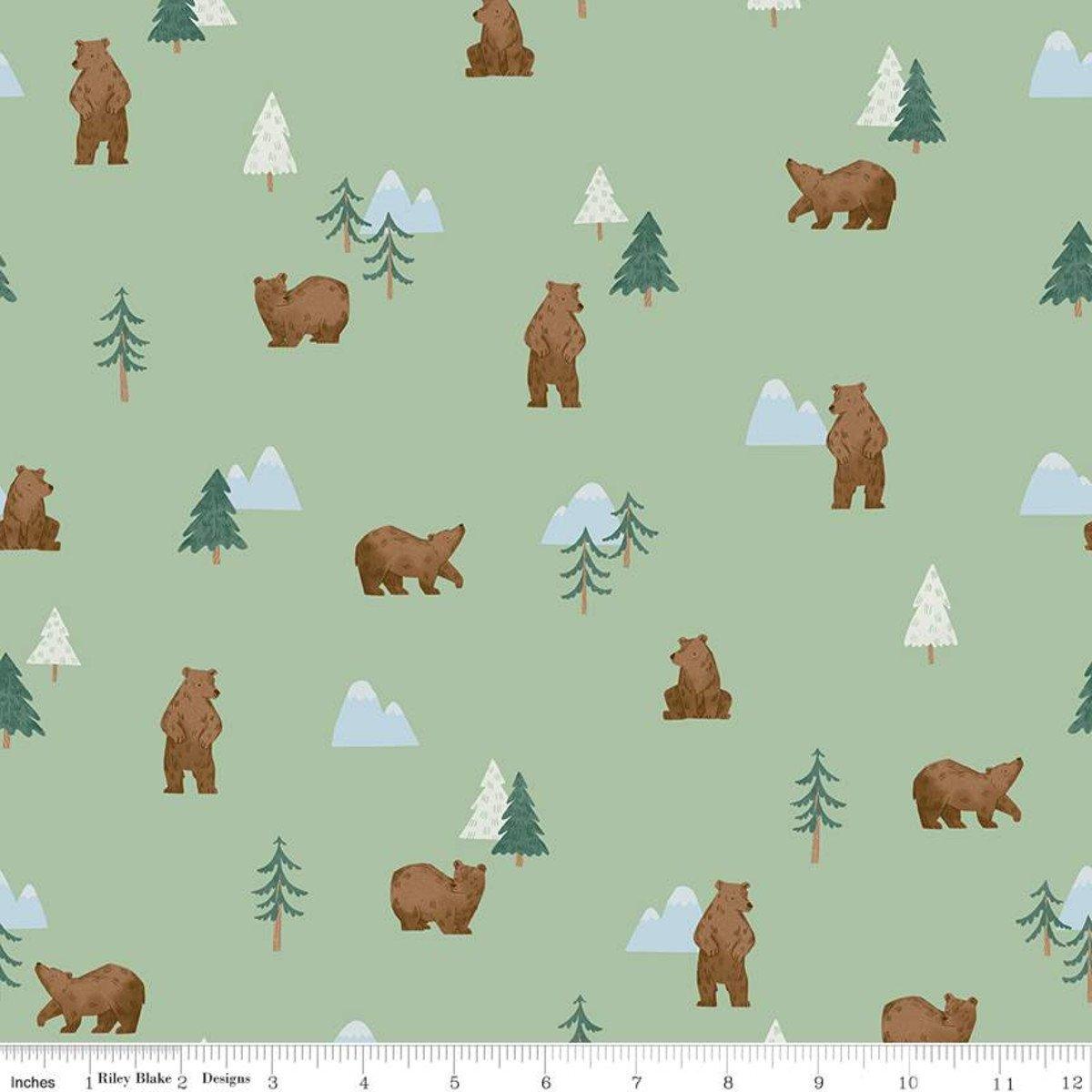 Camp Woodland Grizzly Bears Pistachio   - C10461-PISTACHIO by Natàlia Juan Abelló for Riley Blake Designs