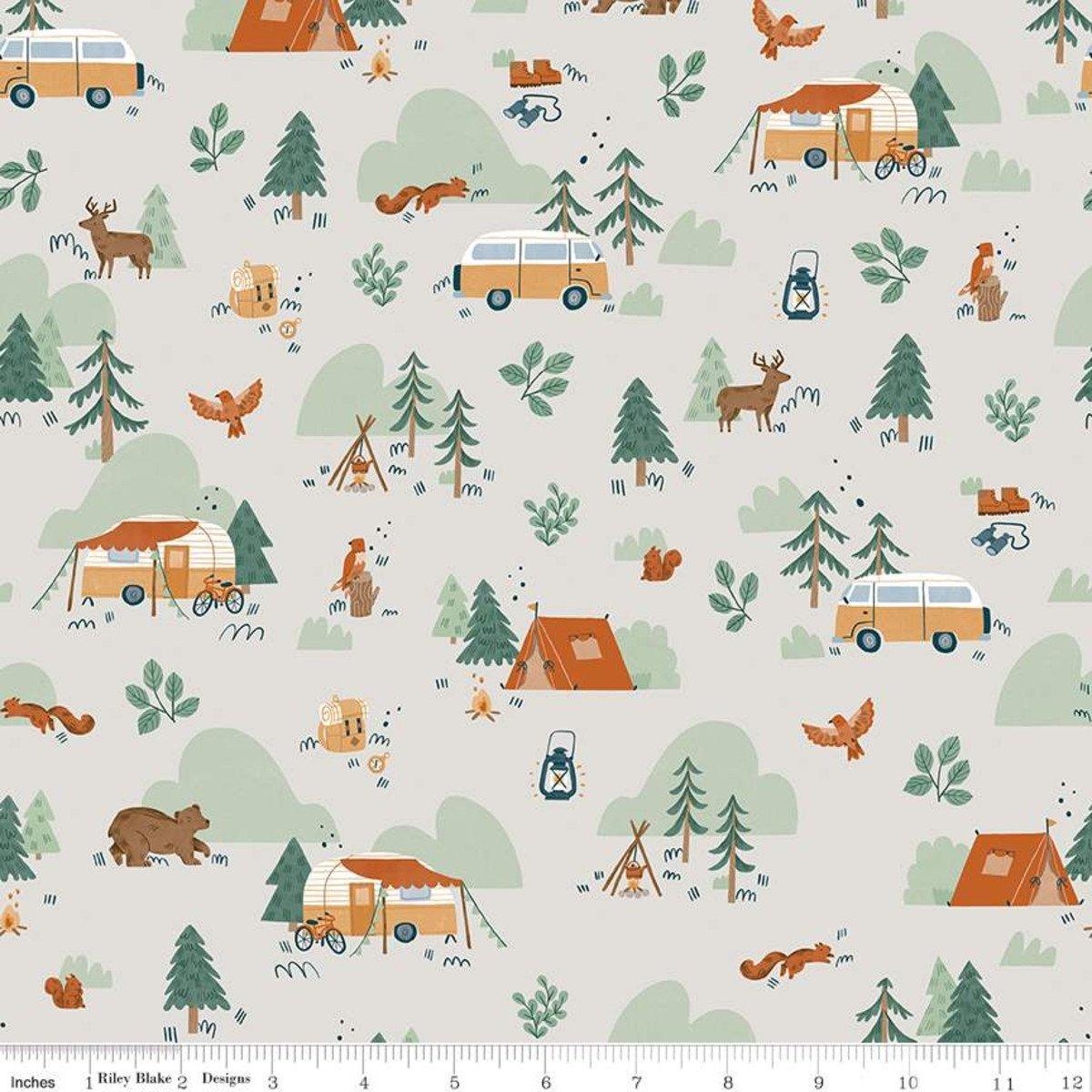 Camp Woodland Main Offwhite - C10460-OFFWHITE by Natàlia Juan Abelló for Riley Blake Designs