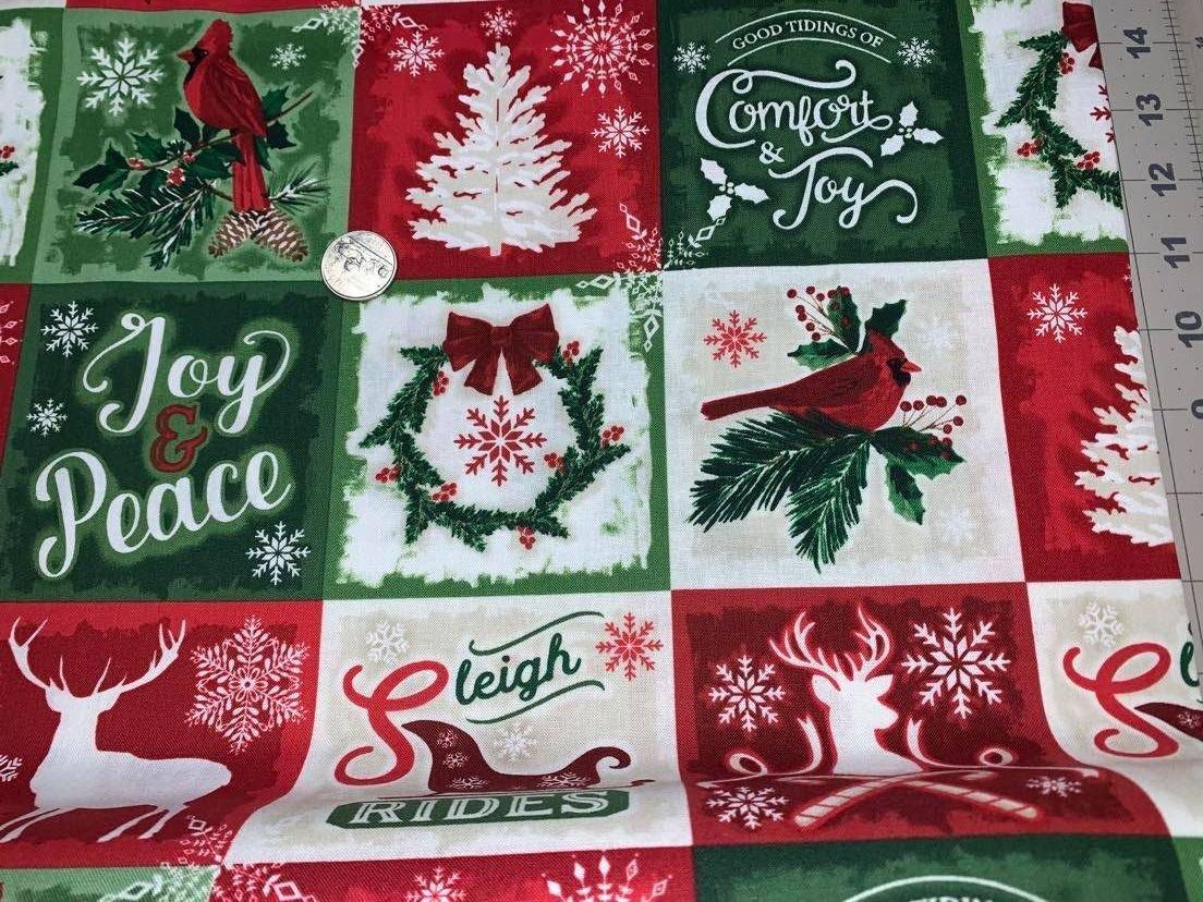 Comfort & Joy Christmas Squares - C8654-Multi by Timeless Treasures