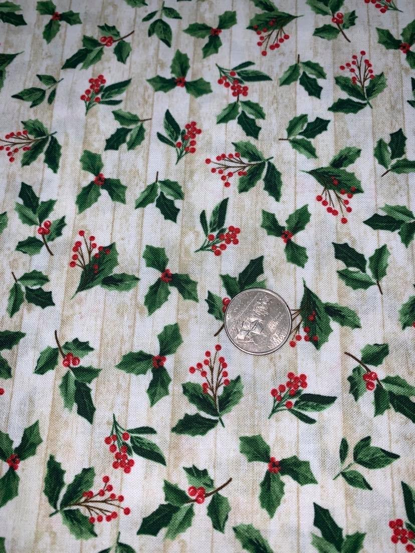 Comfort & Joy Christmas Holly & Leaves - C8659-Natural  by Timeless Treasures