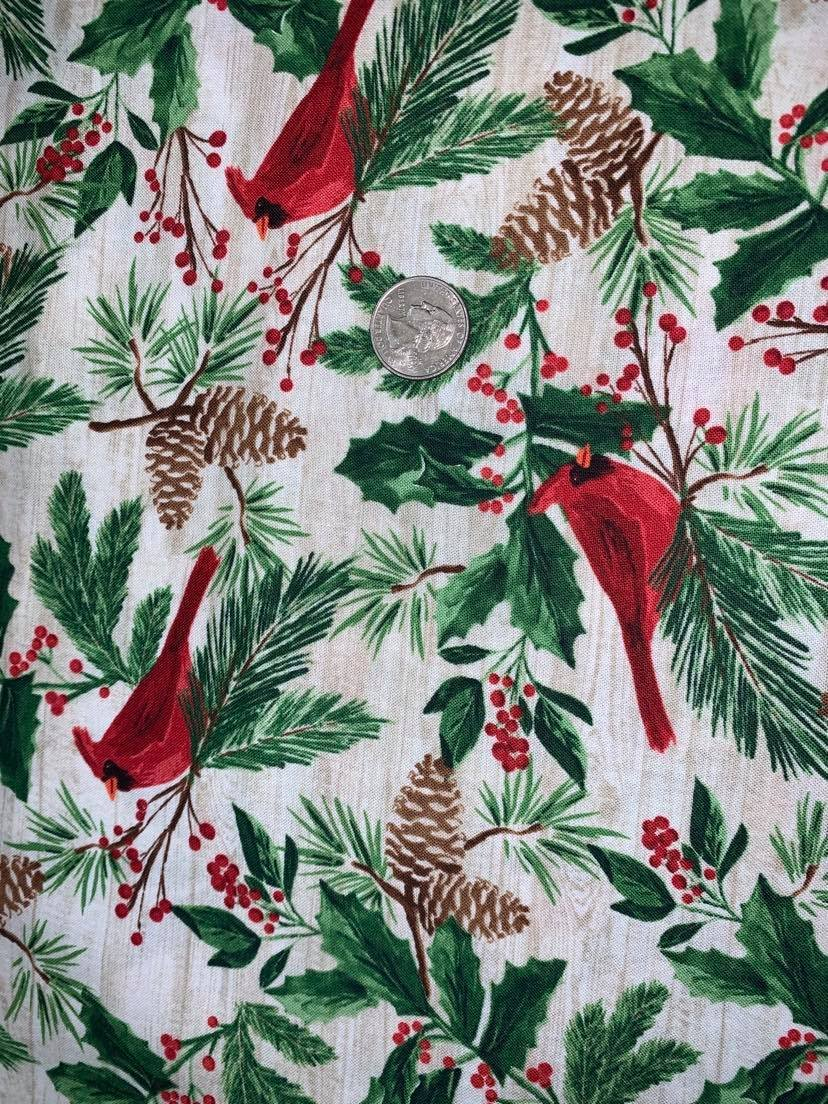 Comfort & Joy Red Cardinals on Wood - C8658-Natural by Timeless Treasures
