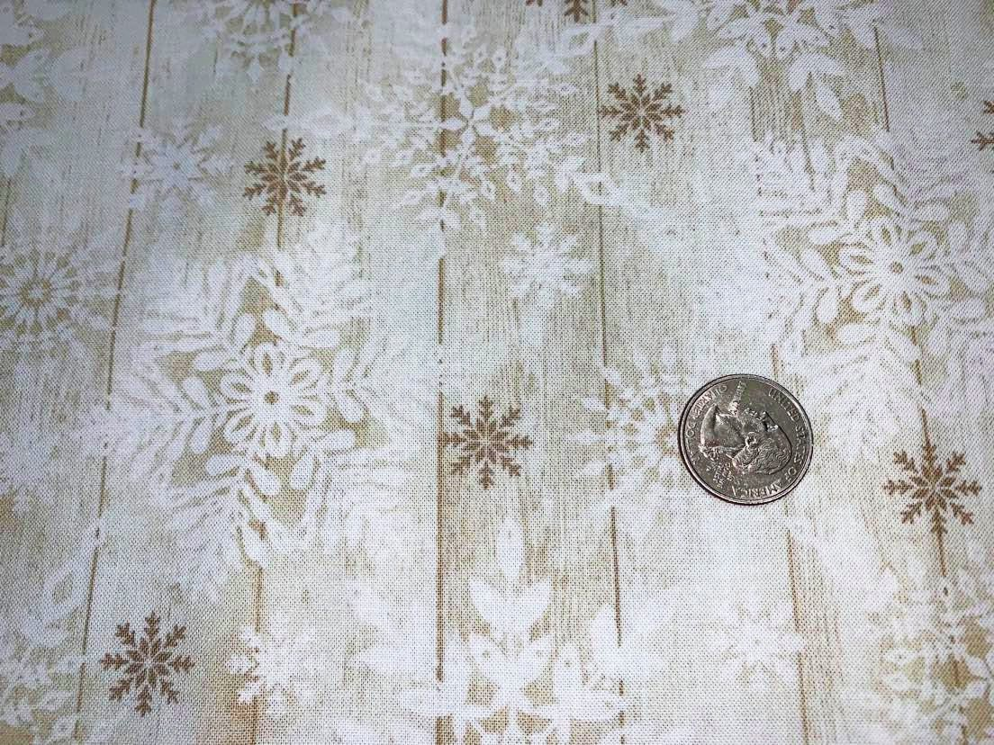 Comfort & Joy Christmas Stamped Snowflakes on Wood - C8660-Natural  by Timeless Treasures