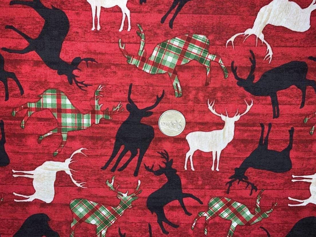 Comfort & Joy Tossed Reindeer on Red Wood  - C8656-Red by Timeless Treasures