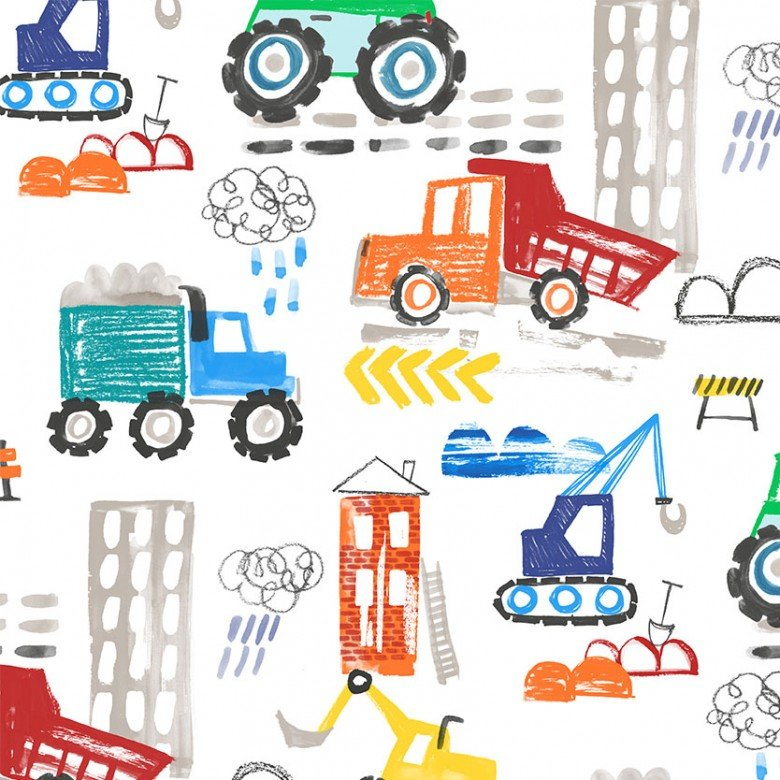 Diggers and Dumpers - Construction Site - White