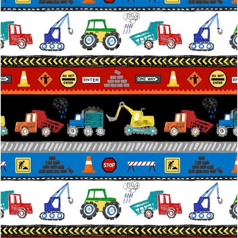 Diggers and Dumpers - Road Builders - Repeating Stripe -Multi