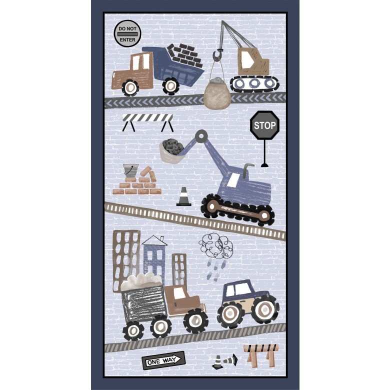 Diggers and Dumpers - Roadwork Ahead Panel - Grey