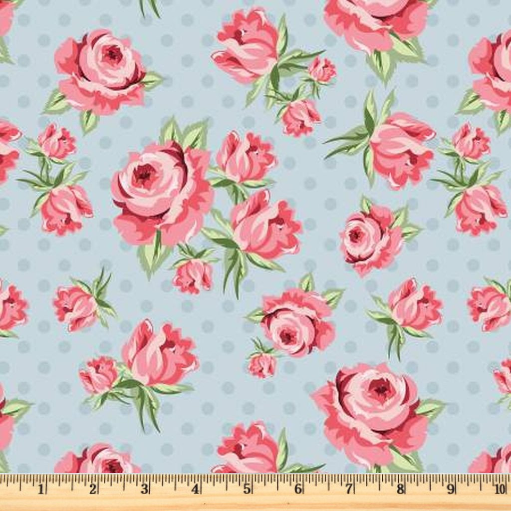 Dots & Posies - Prize Roses - Blue