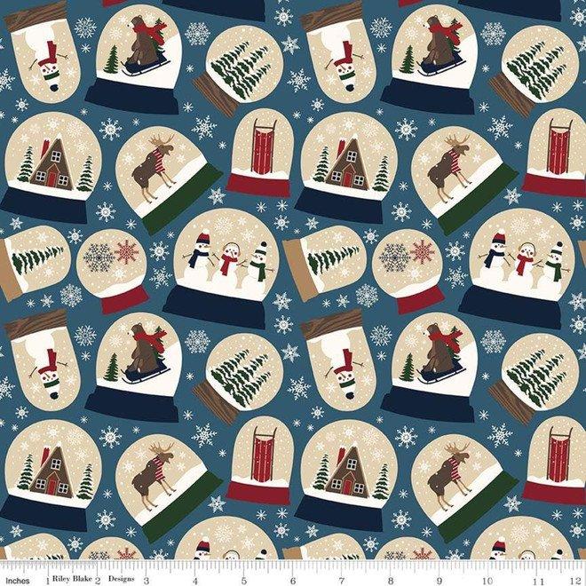 Flannel - Let It Snow - Blue Snow Globes