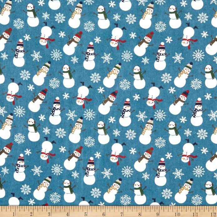 Flannel - Let It Snow - Blue Snowmen