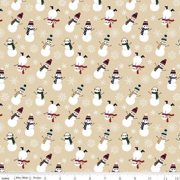 Flannel - Let It Snow - Tan Snowmen