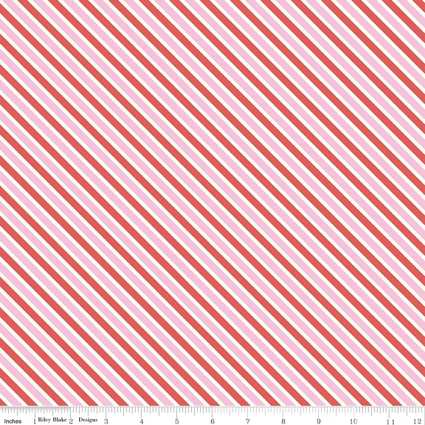 Love Letters - Riley Blake - Diagonal Stripe - Pink and Red
