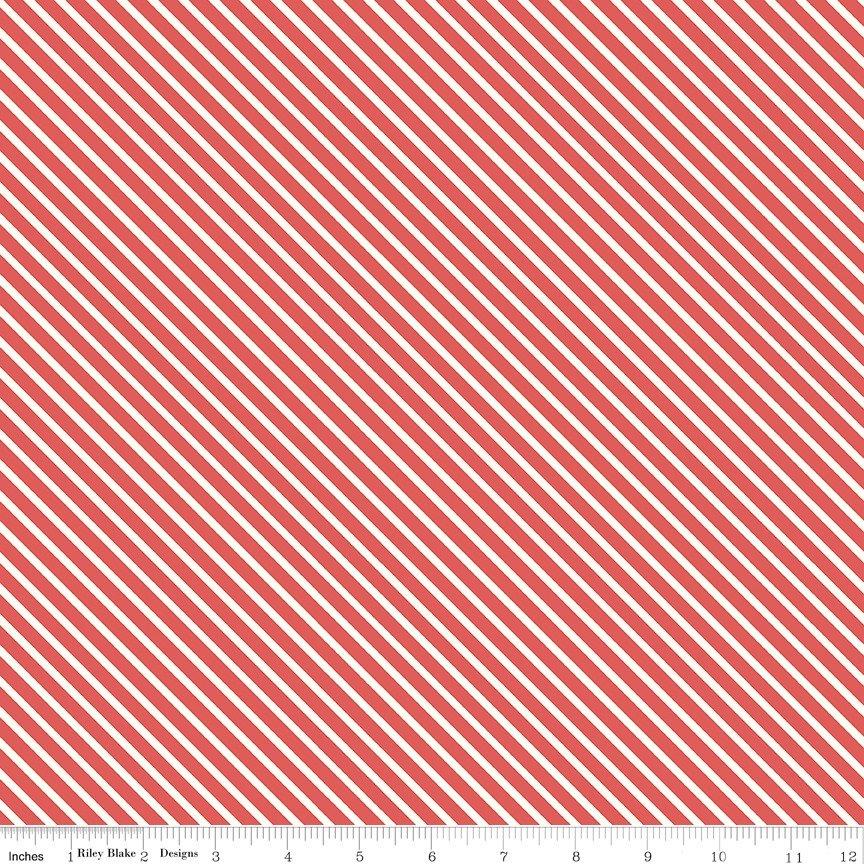 Love Letters - Riley Blake - Diagonal Stripe - Red