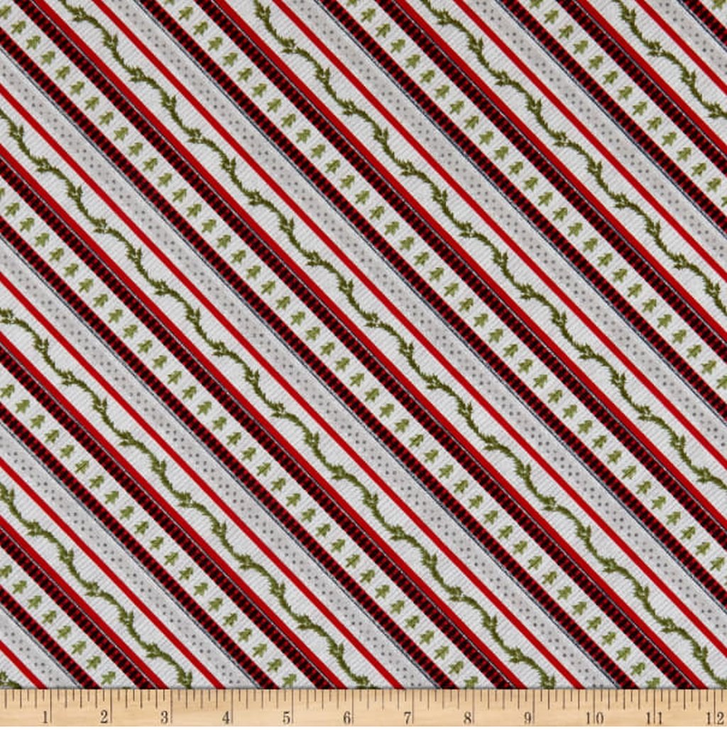 Cozy Critters - Ticking Diagonal STripe - Red