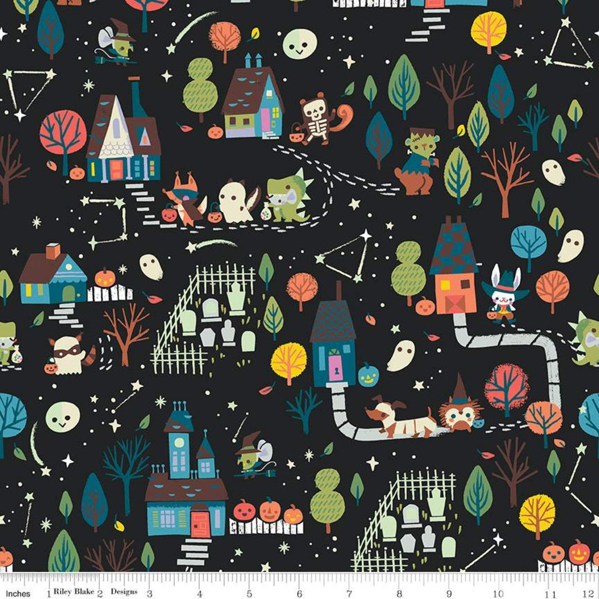 Riley Blake Tiny Treaters Main Charcoal - GC10480-Charcoal Glow In the Dark