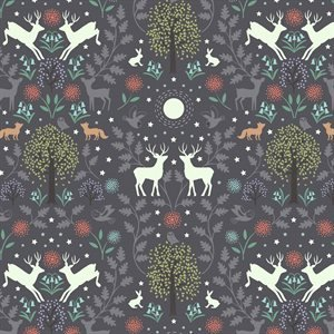 Nighttime in Bluebell Wood - Deer - Nighttime