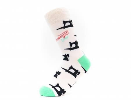 Sewing Machine Socks - Black on White