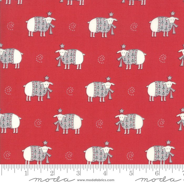 Country Christmas - Sheep - Cardinal Red