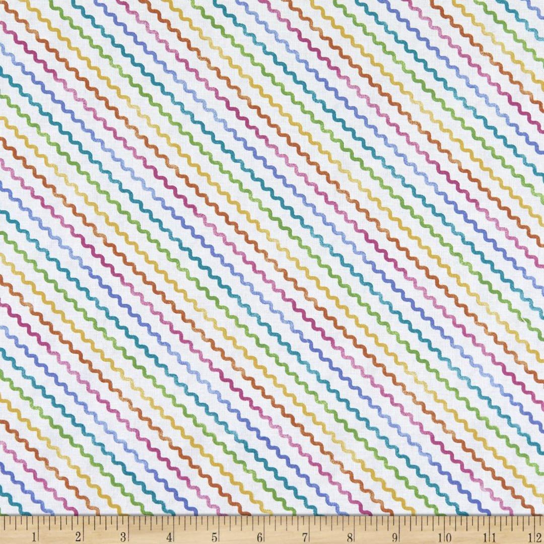 Raindrops & Sunshine - Diagonal Squiggle - Rainbow