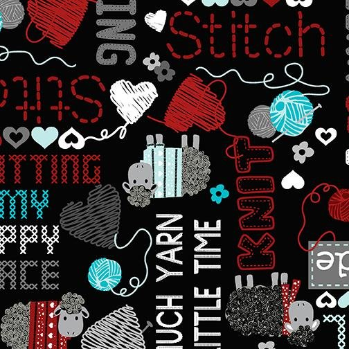 All You Knit is Love - Words - Black