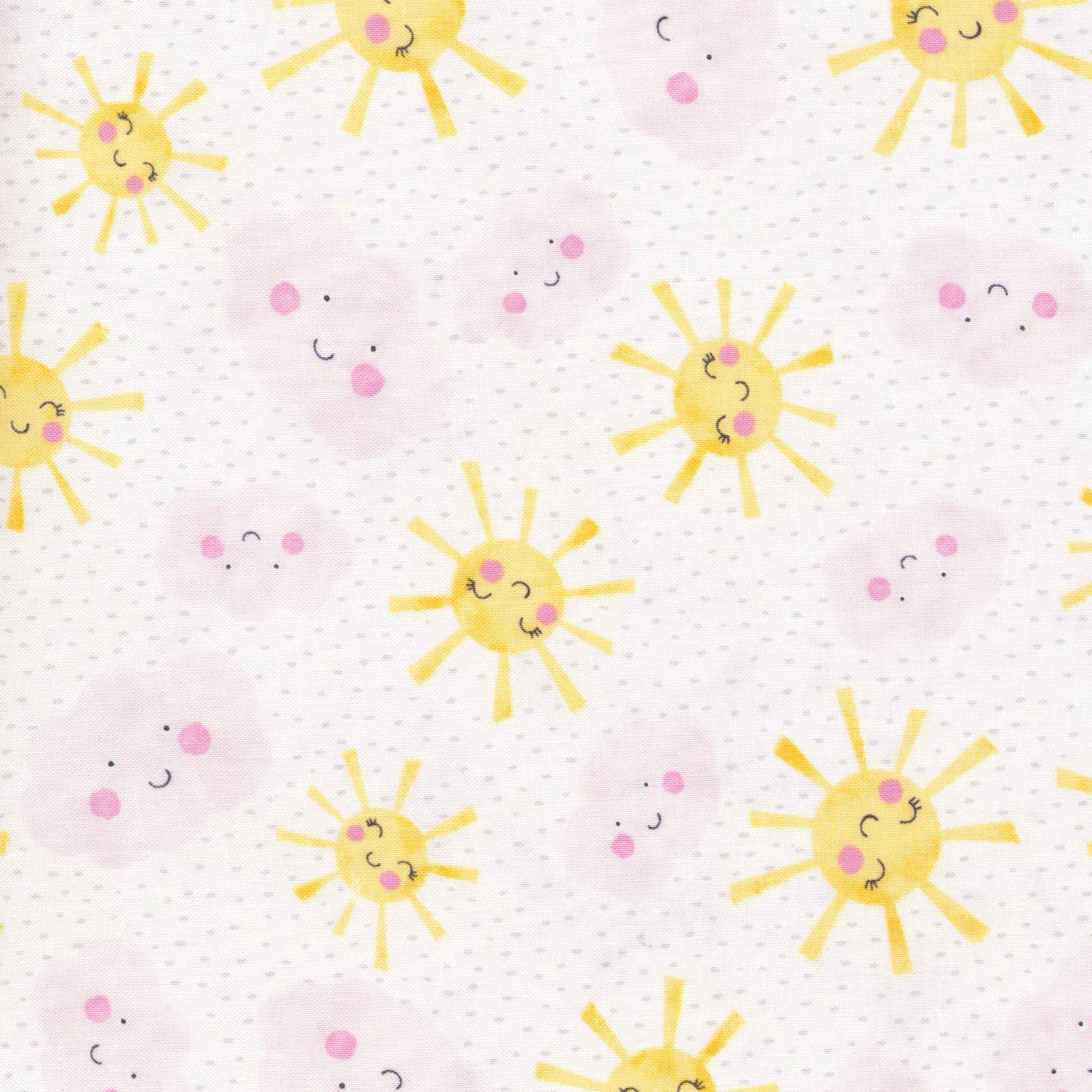 Raindrops & Sunshine - Suns & Clouds - White