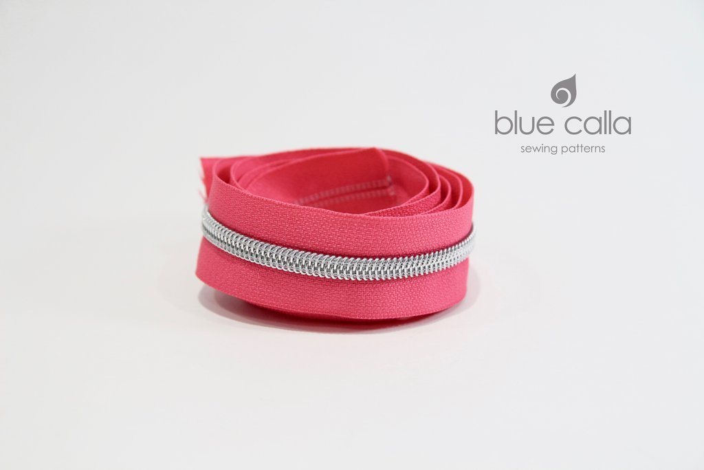 Blue Calla - #5 Metallic Nylon Coil Zipper - 1m - Hot Pink/Silver