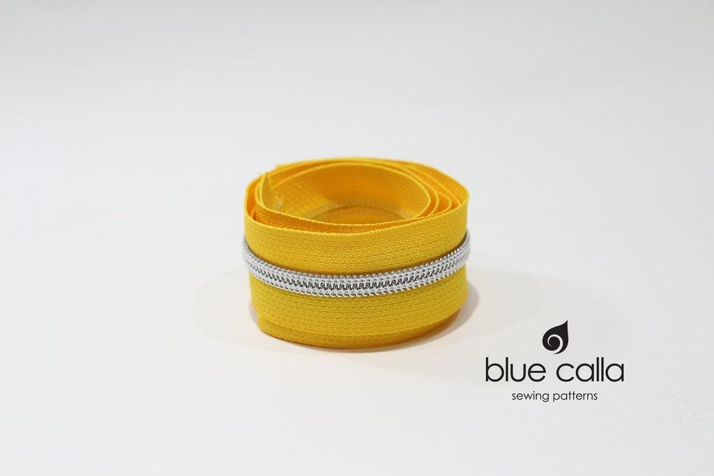 Blue Call - #5 Metallic Nylon Coil Zipper - 1m - Sunshine Yellow/Silver