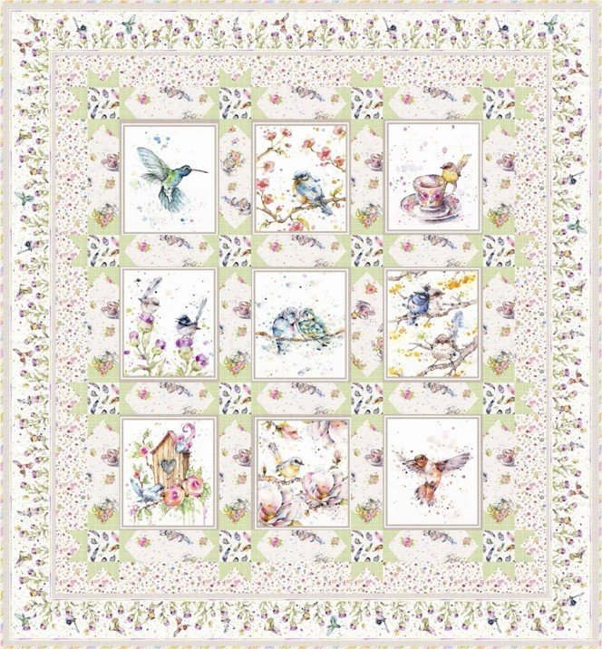 Flowers & Feathers Quilt Kit - Green