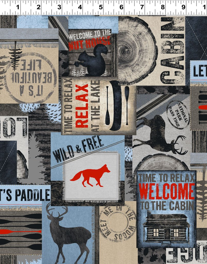 Wild Life Flannel - Collage - Pewter
